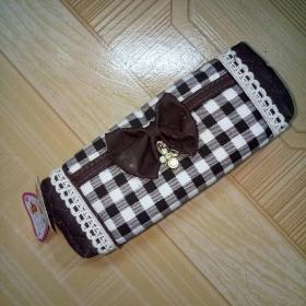 筆袋 格子布質雙袋雙拉鏈筆袋 帶提袋。