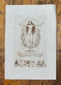 稀少,签名藏书票《 裸体  》 1919年出版,20 x 13,,5cm
