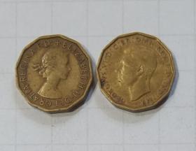 英国 硬币3便士2枚  旧品 外国钱币