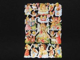 【维多利亚风】德国早期浮雕、镂空(儿童天使)模切彩色画片、23.5*16.5CM、全新未裁、手账专用(2)
