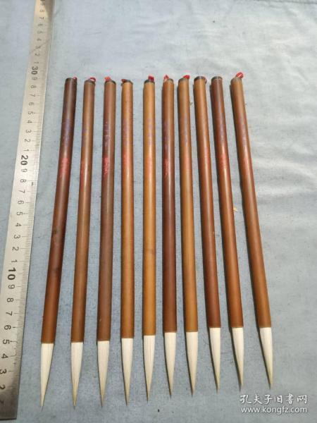 70年代库存上下牛角镶长锋画笔10支