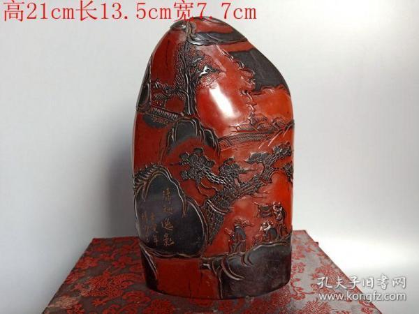 清代传世雕工不错的乌鸦皮寿山石印章山子摆件