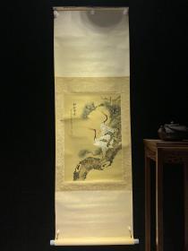 松龄鹤寿和风日本回流字画古玩肉笔手绘挂轴原装真迹现货