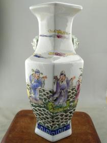 粉彩人物双耳瓷瓶B1092.