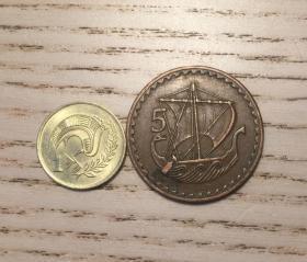 地中海国家塞浦路斯早期1分和5分硬币2枚(鄙视刷屏卖假币的)
