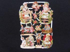 【维多利亚风】德国早期浮雕、镂空(花季女孩)模切彩色画片、23.5*16.5CM、全新未裁、手账专用(34)
