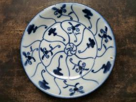 清代早期景德镇民窑瓷器青花灵芝纹双圈花押底款碟盘