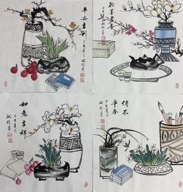 刘敏艳四尺斗方【清供图】70厘米*70厘米160元四副包邮