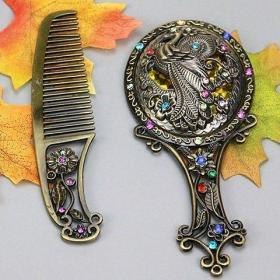 铜合金镜子和铜合金梳子长15厘米一套的价格