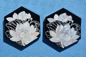 韩国 螺钿漆器工艺品 漂亮的 荷花图 螺钿漆器 菱形摆件一套