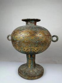 大型老青铜鎏金圆豆 铭文 精雕细琢 古朴大气 收藏佳品