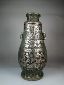 旧藏 老青铜鎏银刻铭文瓶  精雕细琢 古朴大气 收藏佳品