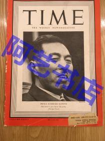 """【现货】时代周刊杂志 Time Magazine, 1940年,封面 """" 日本的 近卫文麿"""",珍贵史料。"""