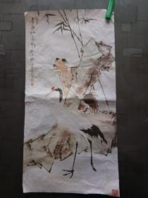 老旧藏:一代大师水墨画作品:鹅童图 范曾 可装裱