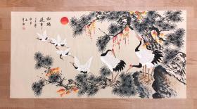 中国美术家协会会员李钦平老师四尺作品【松鹤延年】140*70厘米
