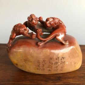 珍藏篆刻家徐星州之作寿山芙蓉石三螭虎钮随形印章