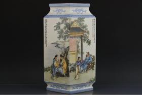 民国时期王大凡作粉彩人物故事纹菱形瓶 高35.5cm宽12cm长21cm