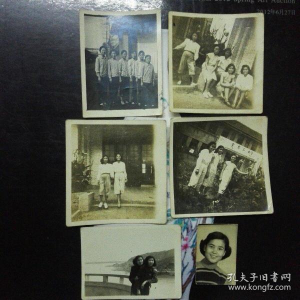 夏冰云与丽新纺织印染厂女工合影照片六张(民国与解放初)
