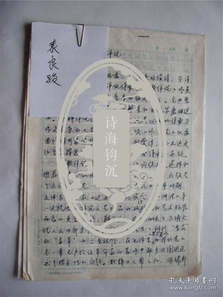 B0080中国社会科学院文学研究所鲁迅研究室主任、博士生导师袁良骏先生《诗歌的评论》手稿13页