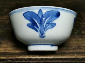 清代晚期民间传世真品民俗瓷器青花白菜纹饰寓意百财碗