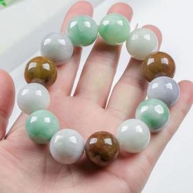 天然翡翠a货手串珠子直径1.5厘米