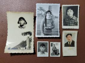 老照片:在影楼里拍摄的黑白照片    共有6张合售    文件盒七