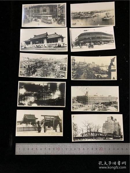 30年代老上海的历史记忆:日本人拍摄的上海老照片10张:南京路夜景、黄浦江、上海外滩、爱多亚路、上海神社等,有经过先施公司门前的双层大巴士(车头有美丽牌香烟广告),有拉黄包车板车的车夫,城市街景、大楼建筑等,珍贵
