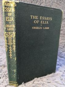 THE ESSAYS OF ELIA 全皮装帧 含少许插图  BY CHARLES LAMB  15.5X10.5CM