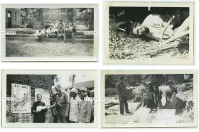 民国1940年代广西崇善县(现在的龙州县) 美国援华空军飞行员拍摄老照片一组四张,分别为崇善初中,街头基督教教会海报前教民和美军士兵合影,观看当地少数民族妇女收稻谷刈麦,当地人物等。