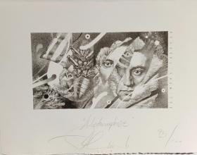 保加利亚版画P.Chinovsky皮特辛诺夫斯基外国藏书票原作《变形记》黑白(送卡夫卡短篇小说集---变形记)