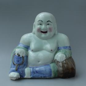 民国釉下彩老瓷器 醴陵窑五彩瓷塑 全品老瓷弥勒佛摆件 包老瓷菩萨
