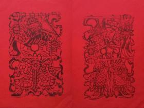 慎谦书屋手工雕刻《鞭锏门神》木板年画编号限量珍藏版一对福筒装(红纸黑墨)22,5CMx36.5CMx2
