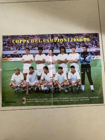 足球海报  1990欧冠冠军AC米兰全家福
