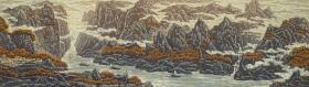 著名新徽派版画家 戴斌2012年木版画《桔红映峡江》一幅(尺寸:28*96cm,版号随机,供货编号为:10-60/80,作品直接得自于艺术家本人!) HXTX117451