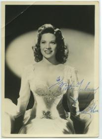 1940年代美国著名歌手,女演员和电视人物 狄娜·肖尔 Dinah Shore亲笔签名银盐照片一张