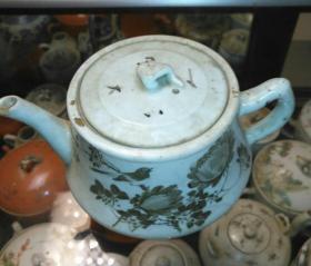 墨彩景德瓷壶,有款王茂盛号,民国造,完整传世美品