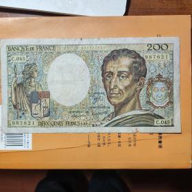 法国1987年200法郎纸币一枚。