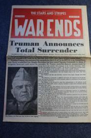 1945年8月15日《星条旗报》二战结束当日报纸----------战争结束,杜鲁门宣布日本全面投降。
