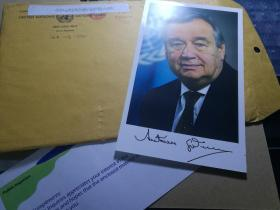 联合国秘书长古特雷斯含信封签名,亲笔