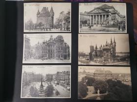 二十世纪欧洲比利时古堡及建筑物明信片共十二张