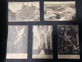 二十世纪欧洲比利时建筑及教堂风景明信片共十张
