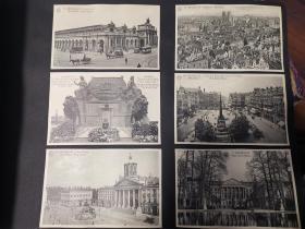 二十世纪欧洲比利时建筑物及街景明信片共十一张