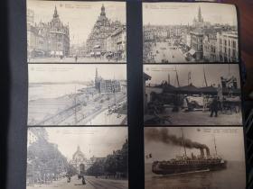 二十世纪欧洲比利时古堡及建筑物老明信片共十一张