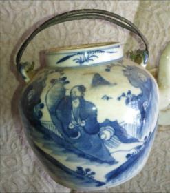 清代人物铜提壶