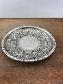 老镶嵌花卉铜盘B1895