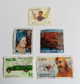 外国邮票5枚信销票合售