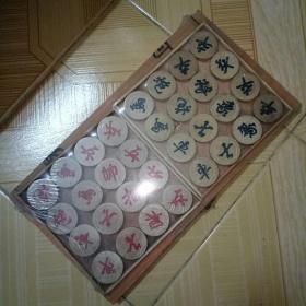 象棋 木盒象棋 木制棋盘 4厘米棋子可折叠棋盘
