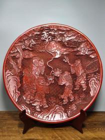 旧藏清代剔红漆器赏盘《五老献寿》屏风摆件