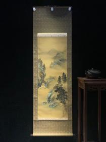 玉甫山水和风日本回流字画古玩肉笔手绘挂轴原装真迹现货