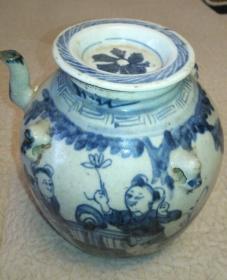 清青花人物大茶壶,传世完整